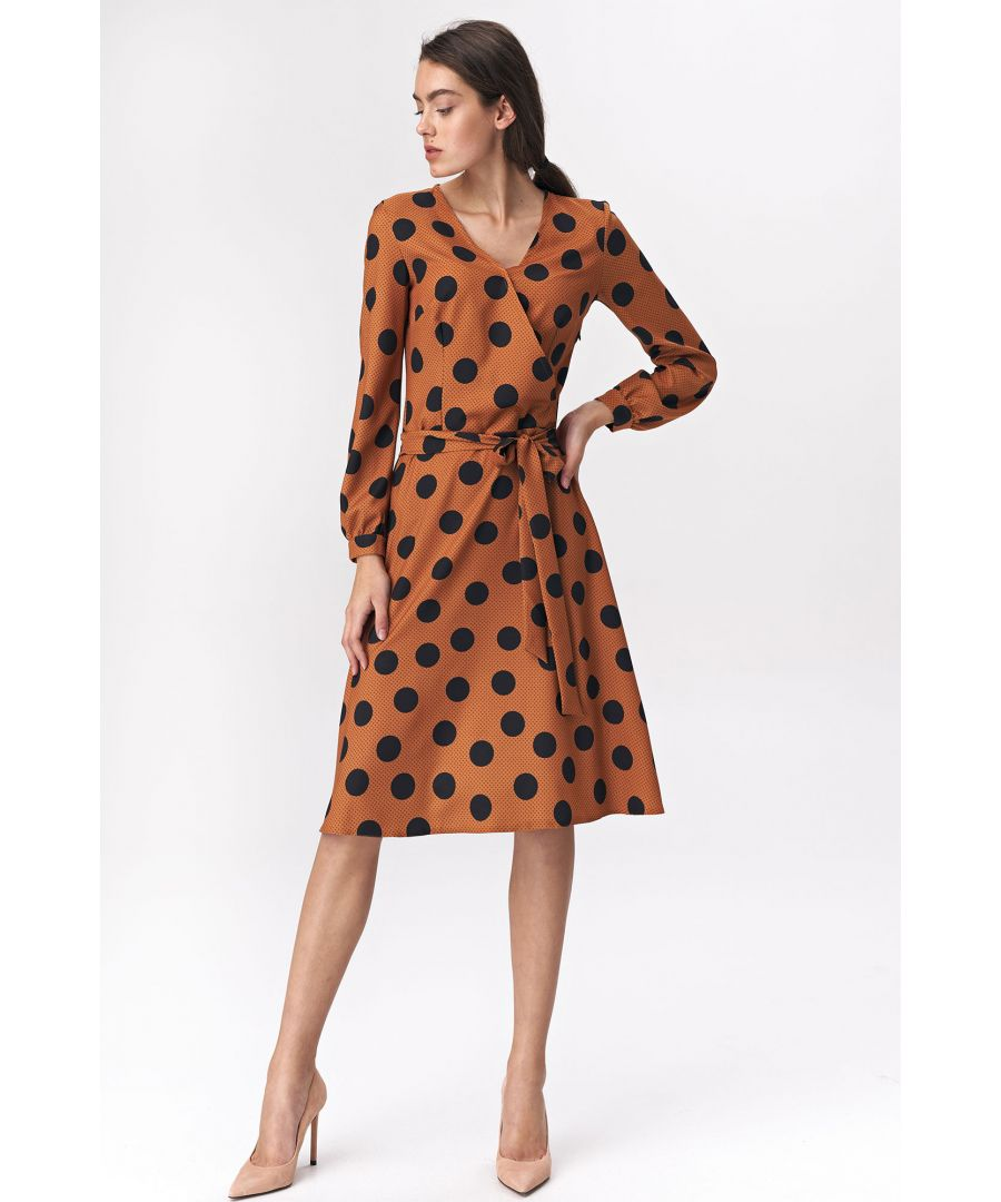 Image for Brown flared dress with polka dots pattern