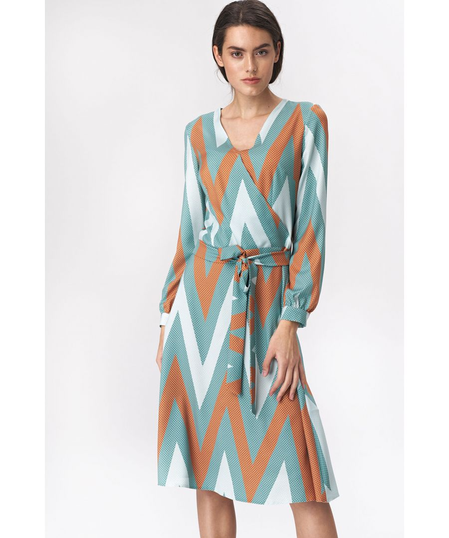 Image for Flared turquoise midi dress with zigzag pattern