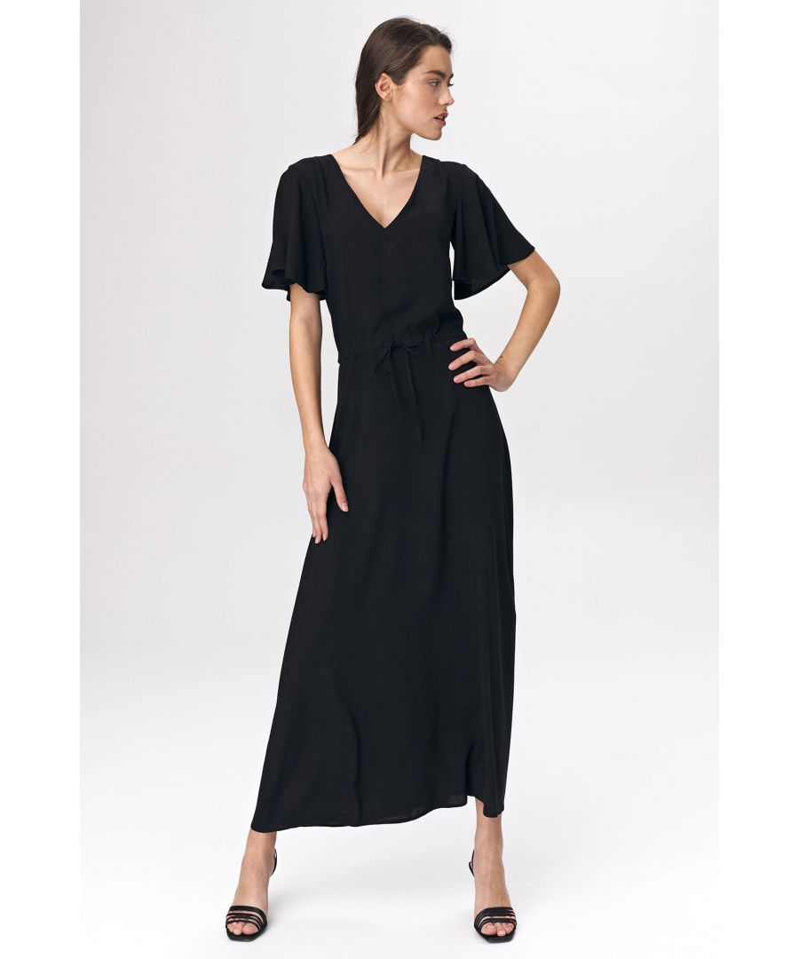 Image for Black maxi dress with wide sleeves