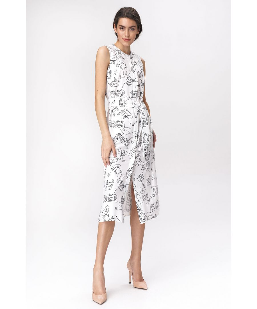 Image for Midi dress with a slit - faces pattern