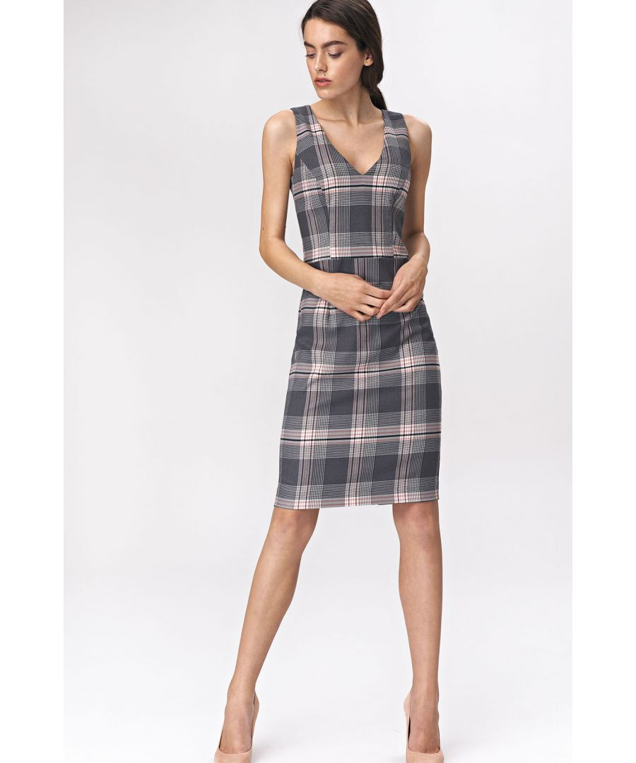 Image for Gray checkered mini dress
