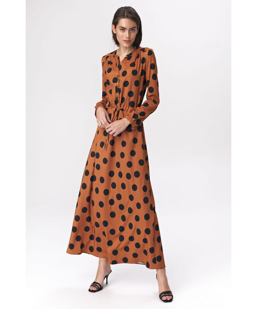 Image for Brown maxi dress with peas pattern