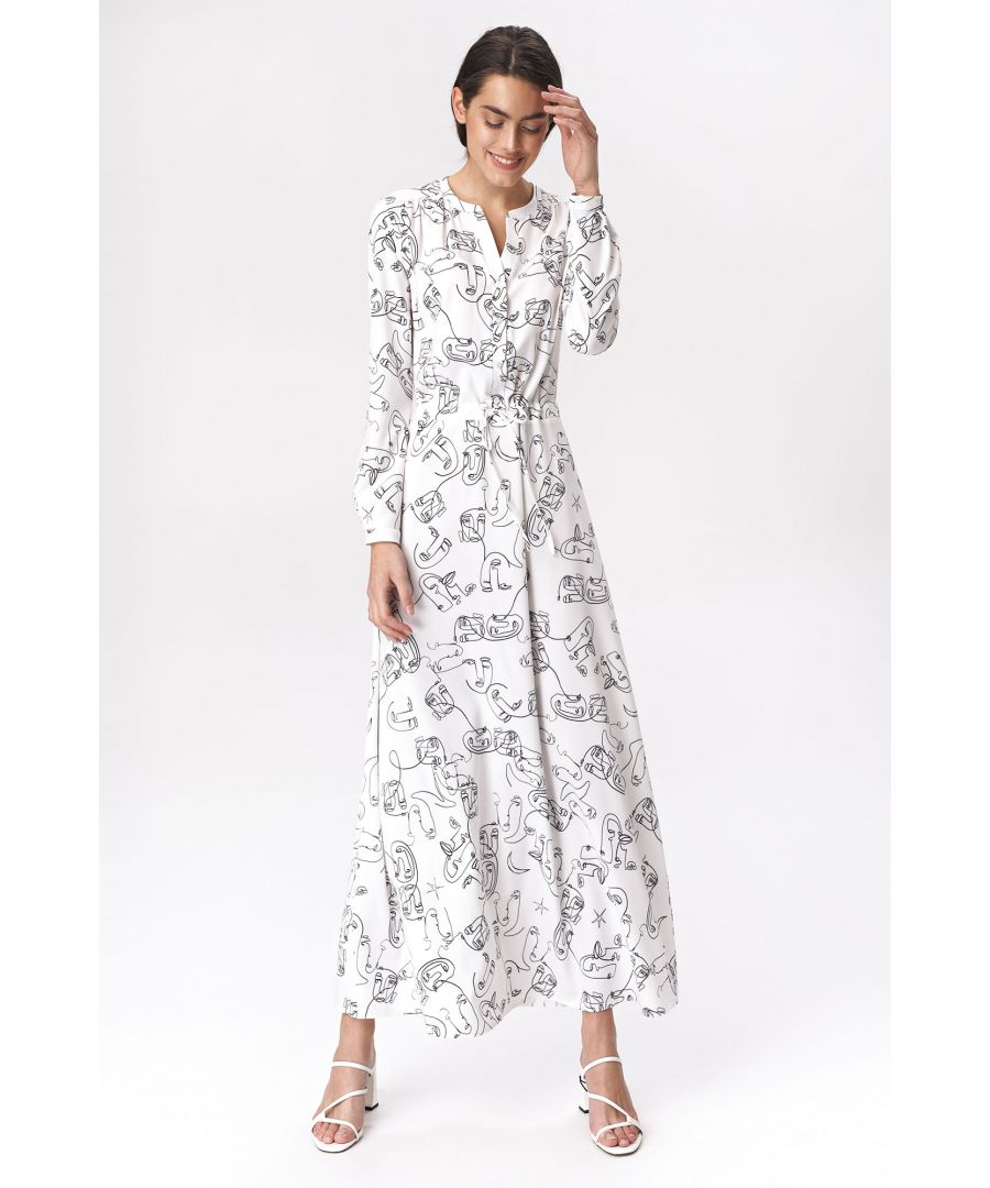 Image for Bright maxi dress with faces pattern