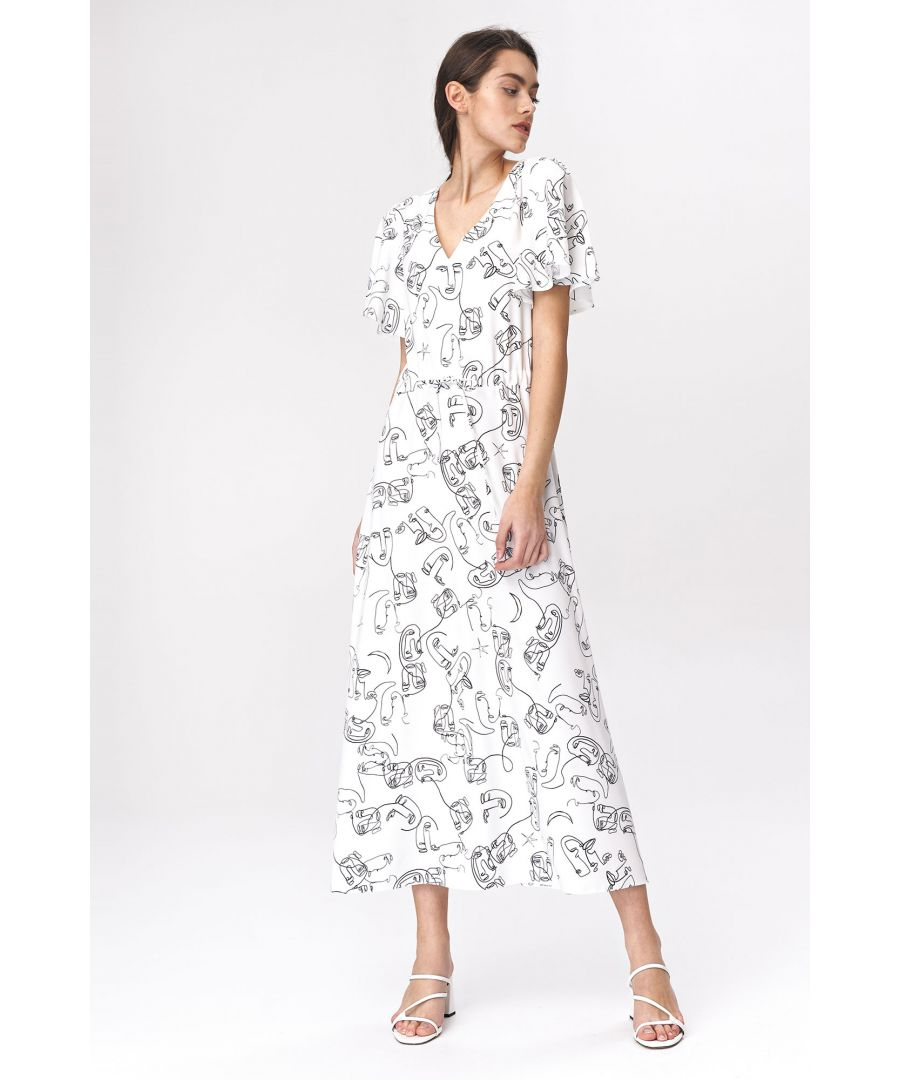 Image for Light maxi dress with flared sleeves - faces pattern