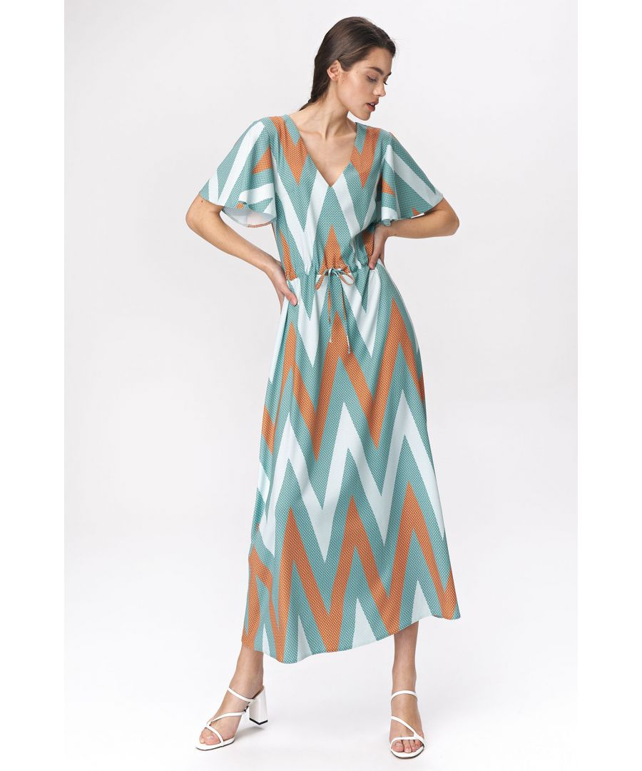 Image for Turquoise maxi dress with flared sleeves - zigag pattern