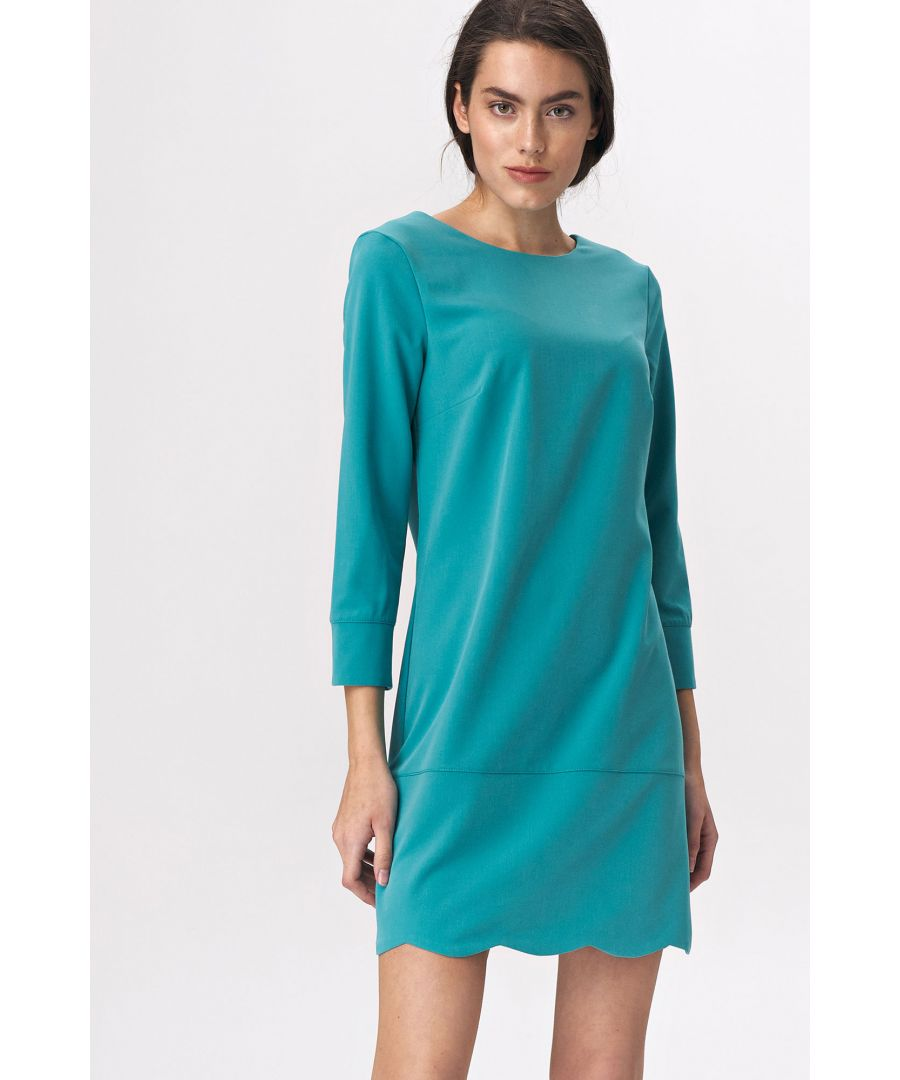 Image for Turquoise dress with a neckline at the back