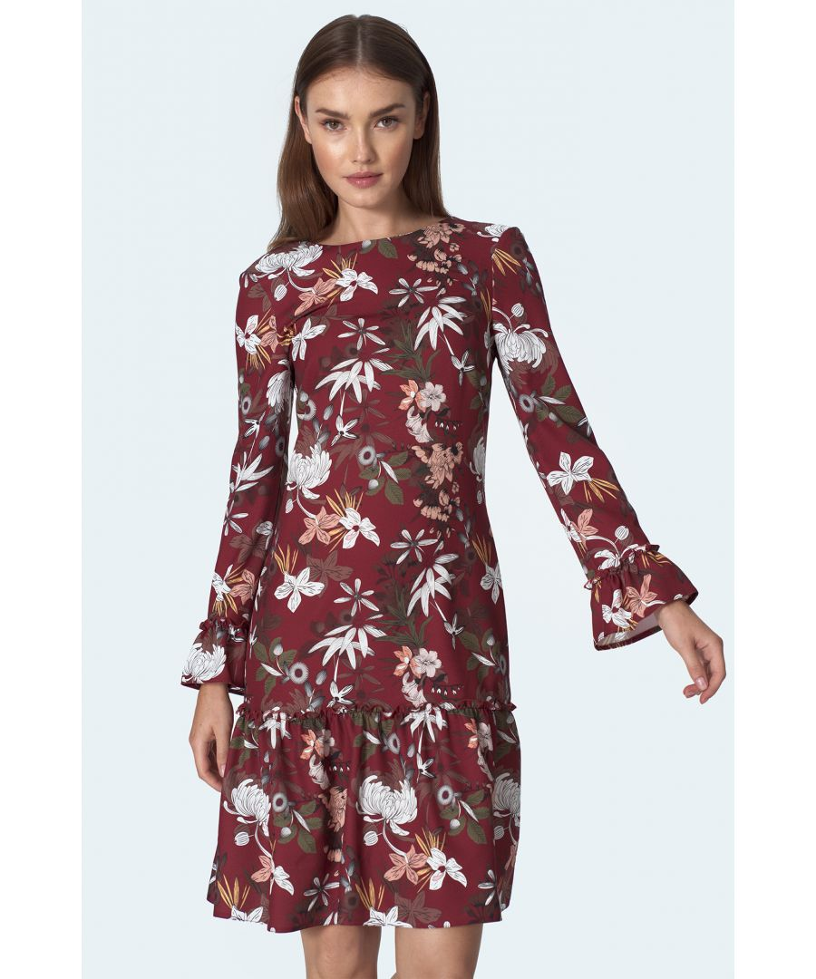 Image for Burgundy dress with a frill in flowers pattern