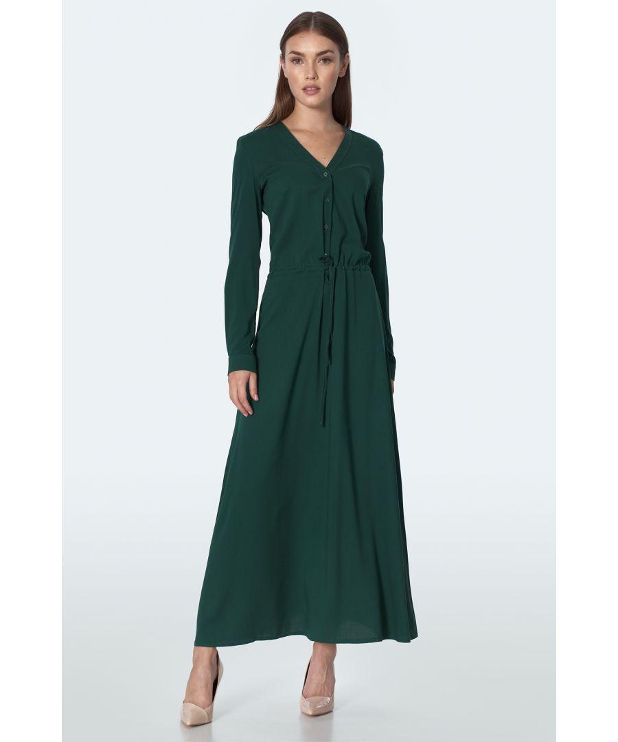 Image for Long Dress in Bottle Green Colour