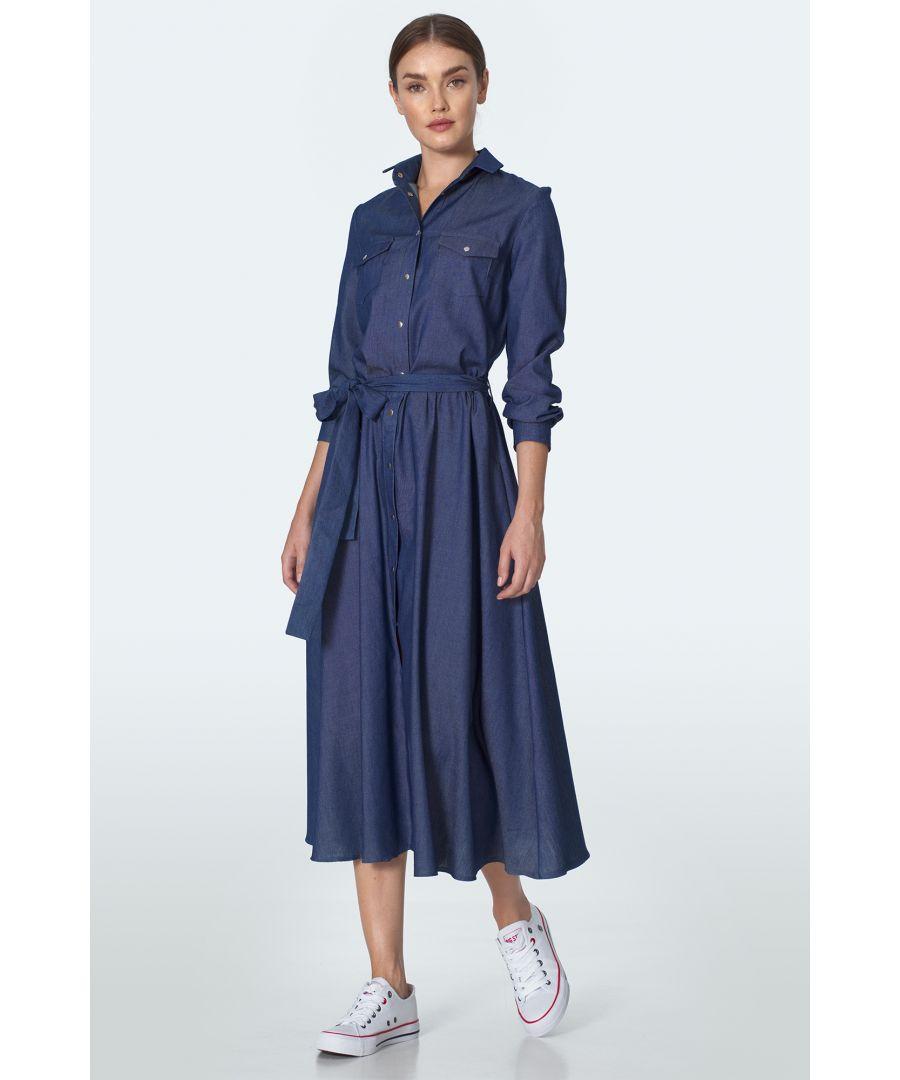 Image for Denim midi dress