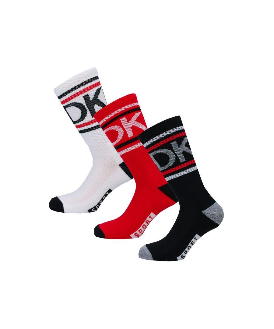 Image for Men's DKNY Dock 3 Pack Socks in White red black