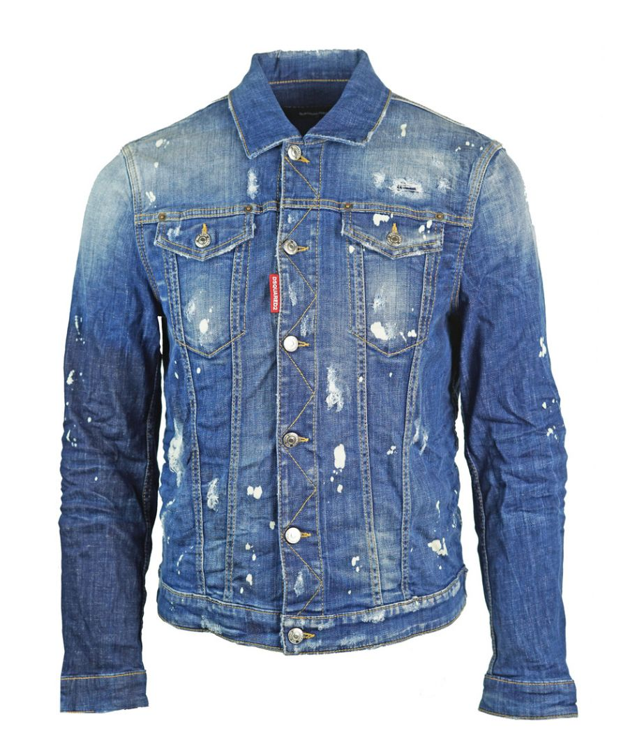 Image for Dsquared2 Distressed Paint Effect Denim Jacket