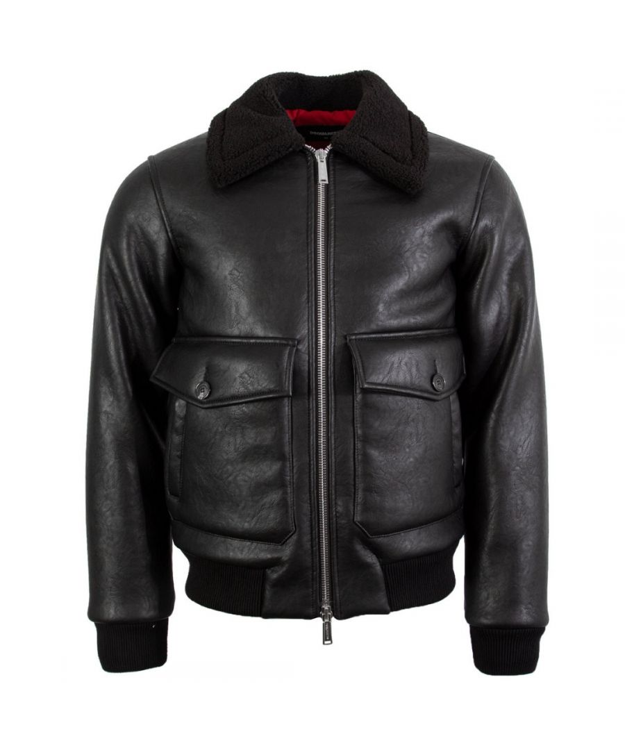 Image for Dsquared2 Aviator Faux Shearling Black Jacket