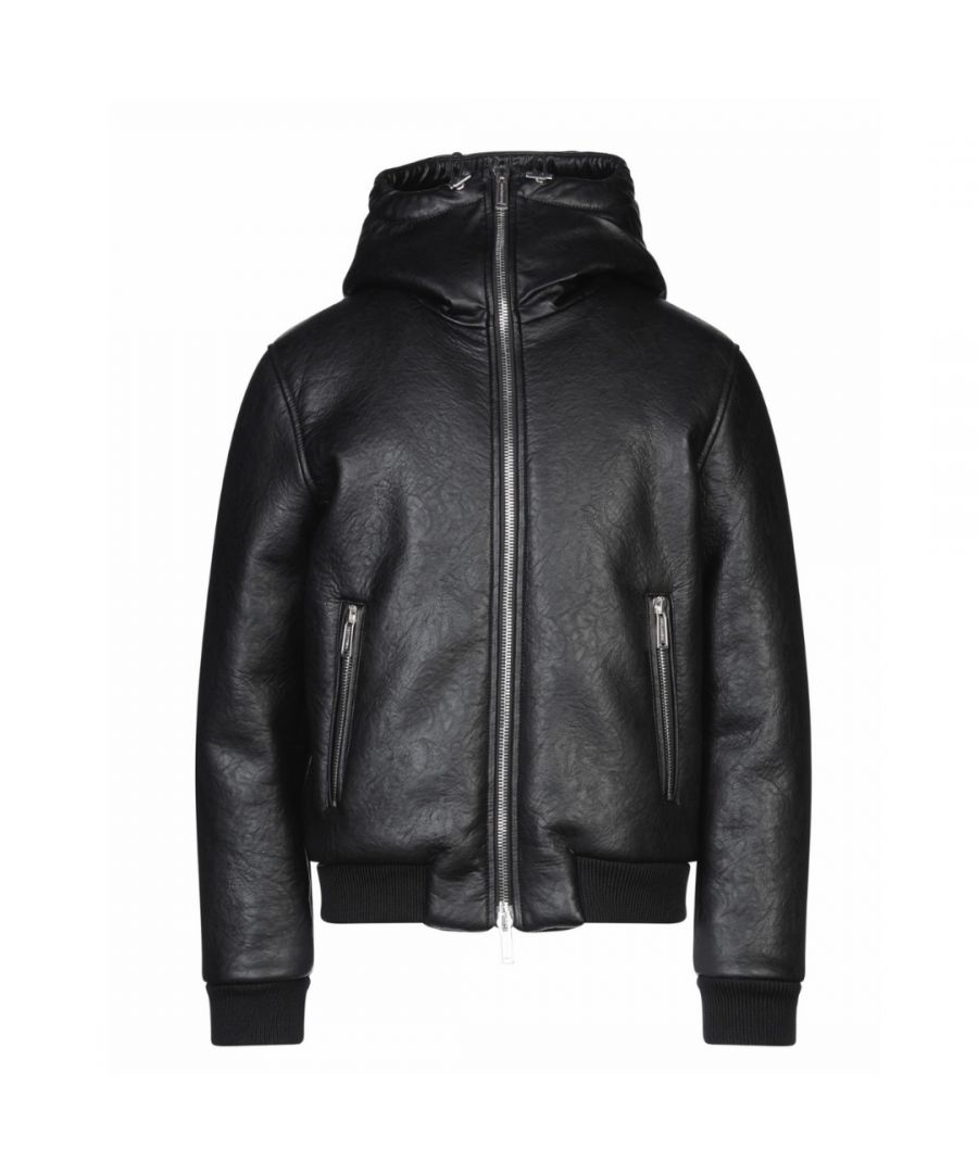Image for Dsquared2 Faux Leather Shearling Bomber Black Jacket