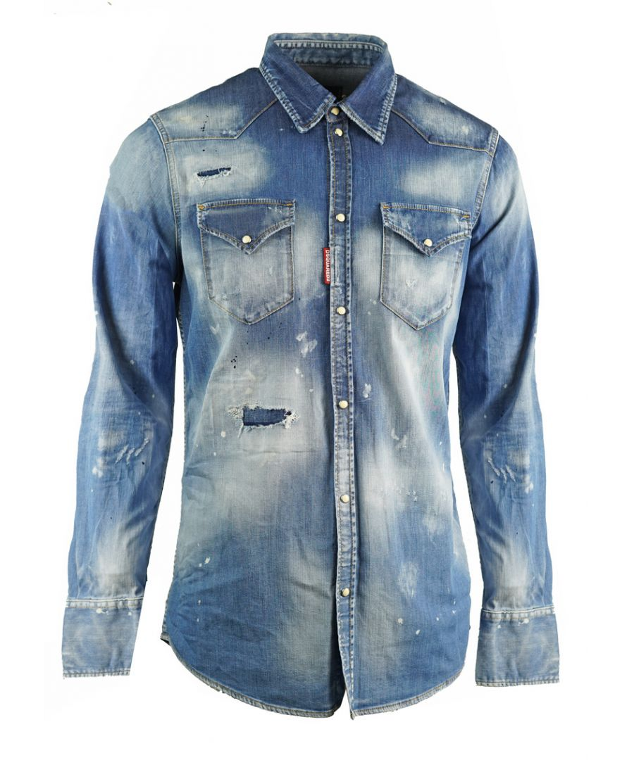 Image for Dsquared2 Classic Western Distressed Blue Denim Shirt