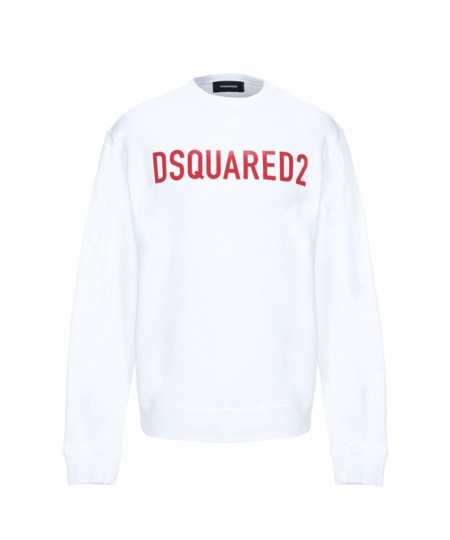 Image for Dsquared2 Red Logo Print White Sweater