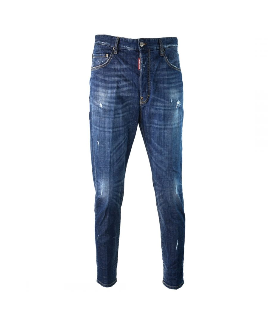 Image for Dsquared2 80's Jean Distressed Faded Blue Jeans