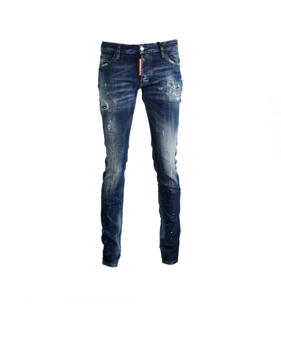 Image for Dsquared2 Slim Jean Paint Splash Effect Jeans