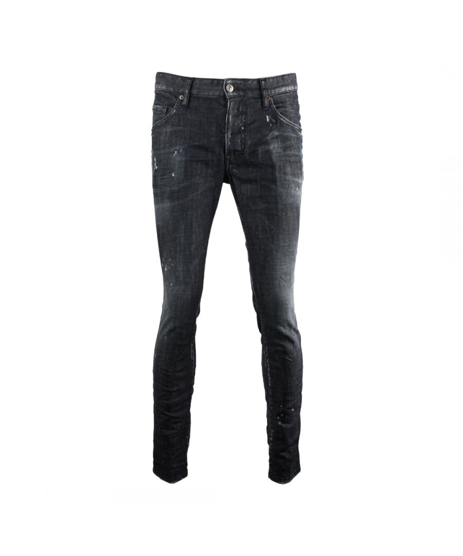 Image for Dsquared2 Skater Jean Worn Faded Black Jeans