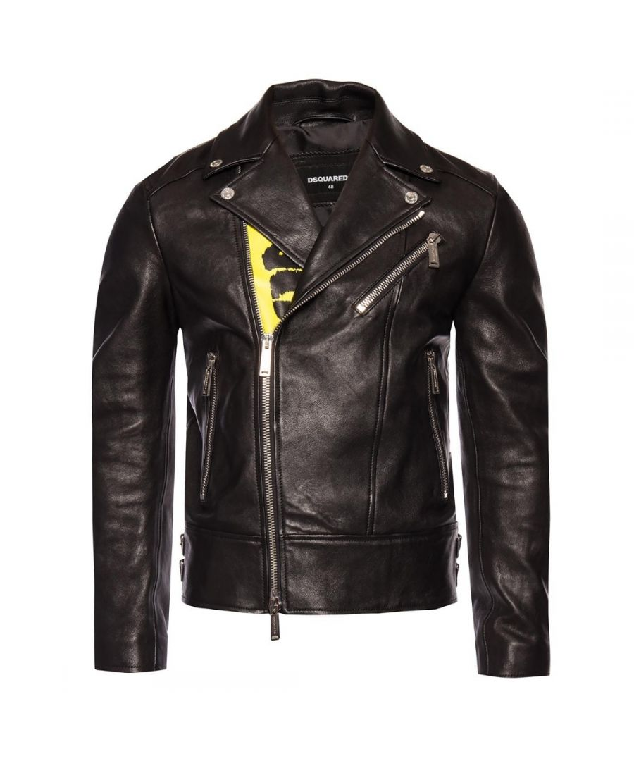 Image for Dsquared2 Large Print Biker Leather Jacket