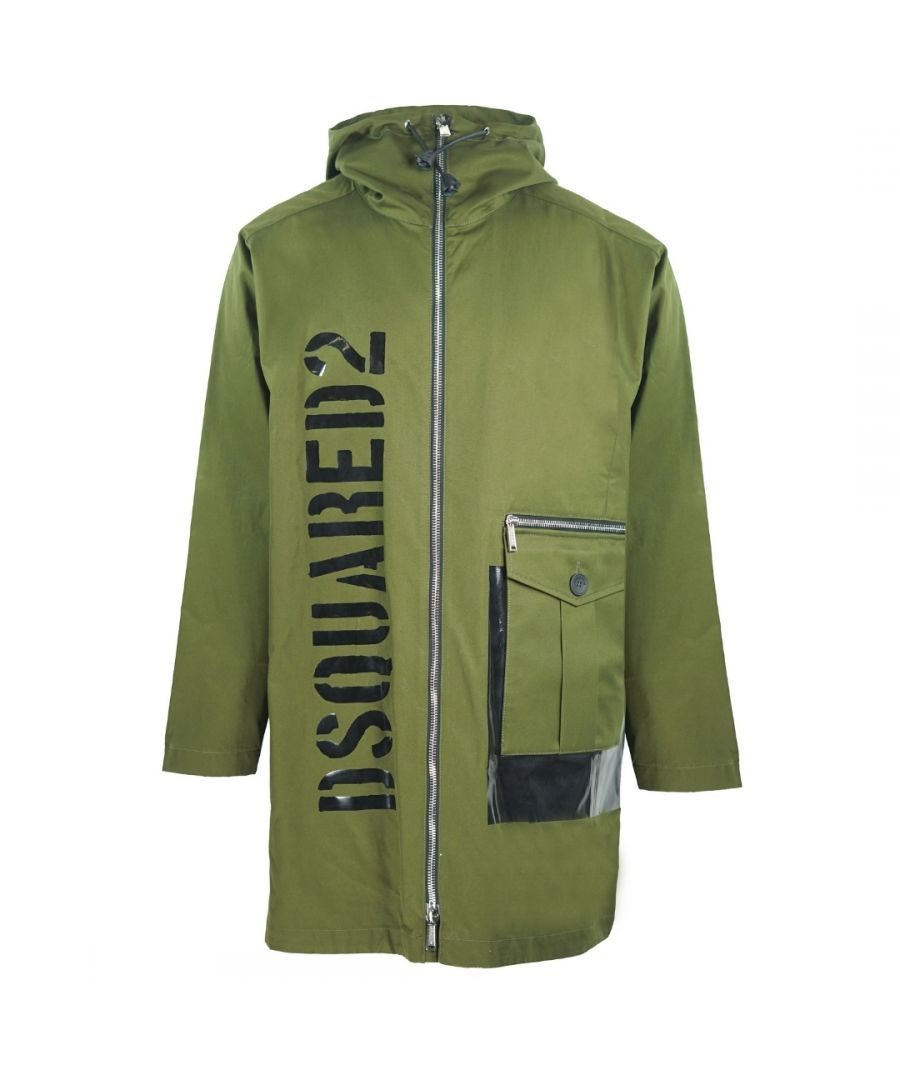 Image for Dsquared2 Large Logo Green Long Parka Jacket