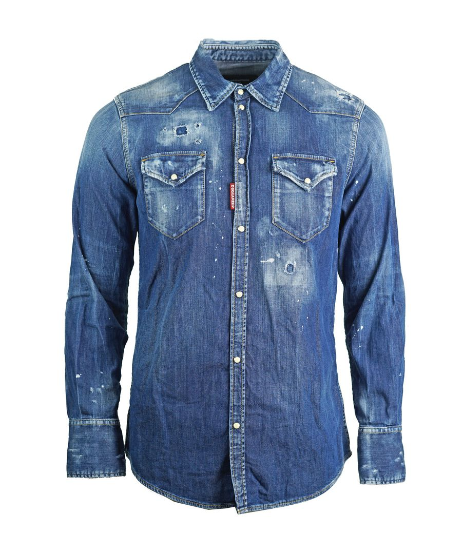 Image for Dsquared2 Distressed Blue Denim Shirt