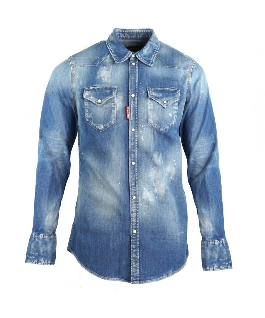 Image for Dsquared2 Classic Western Fit Paint Effect Blue Denim Shirt