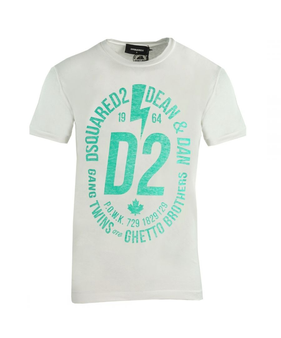 Image for Dsquared2 Chic Dan Fit Large D2 Logo White T-Shirt