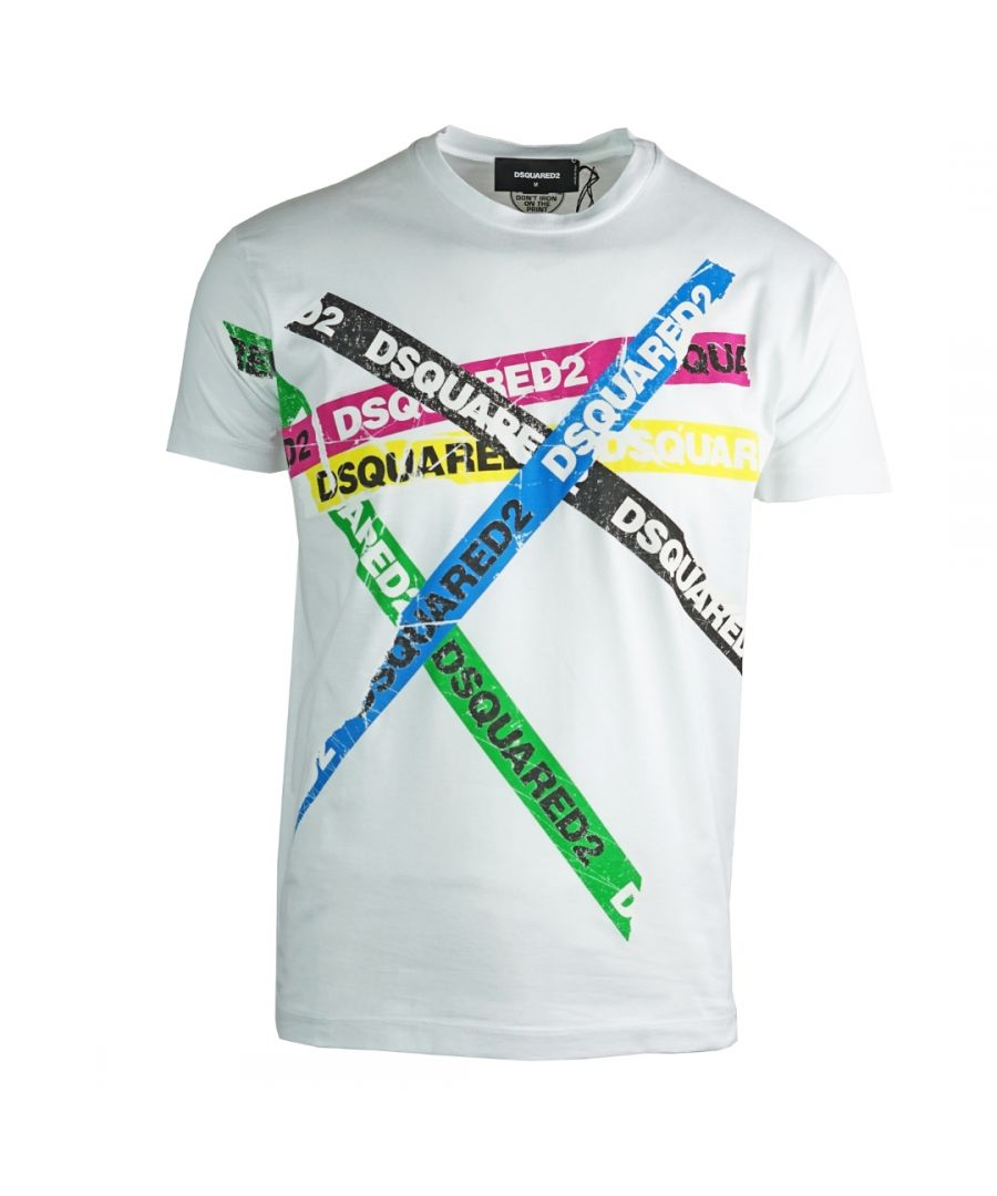 Image for Dsquared2 Multicolour Tape Cool Fit White T-Shirt