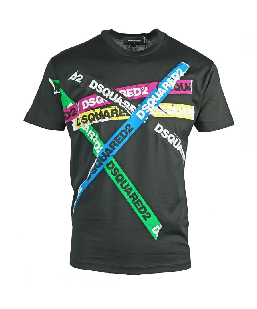 Image for Dsquared2 Multicolour Tape Cool Fit Black T-Shirt