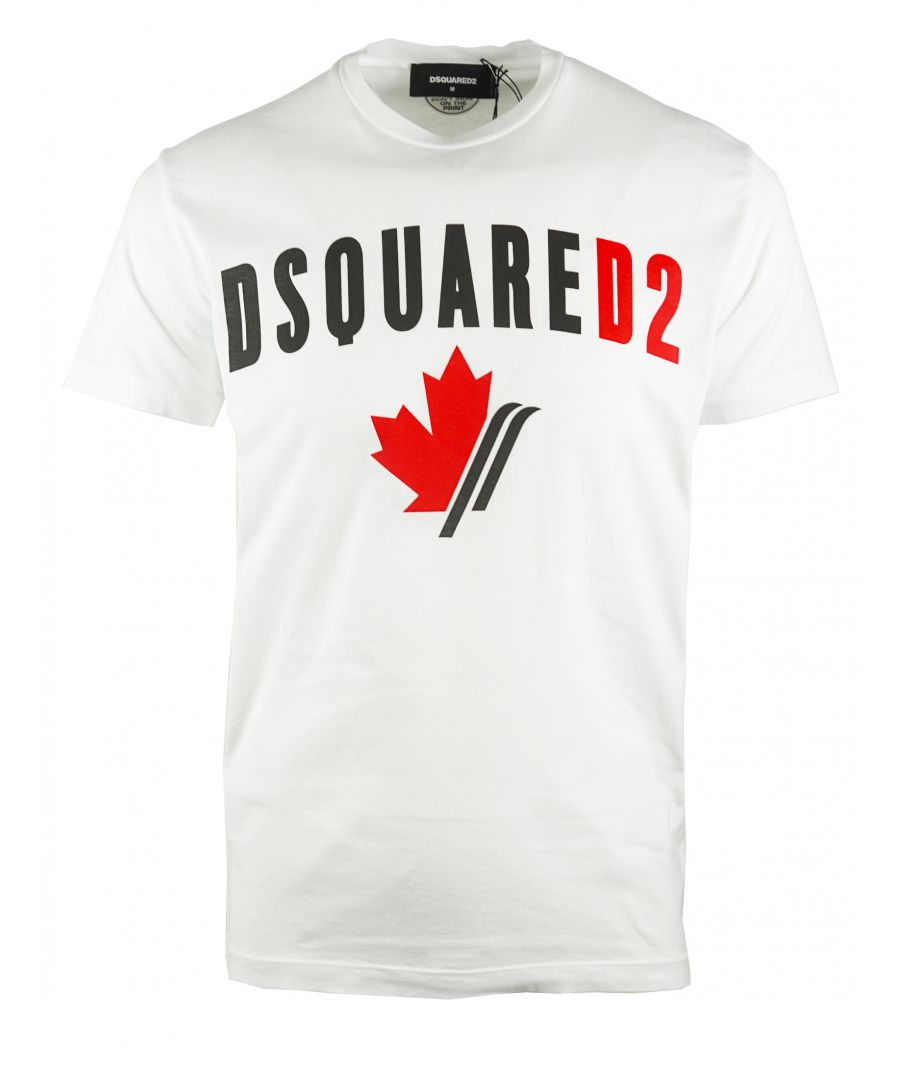 Image for Dsquared2 Cool Fit Maple Leaf Logo White T-Shirt
