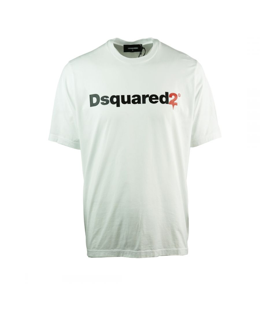 Image for Dsquared2 Drip Logo Slouch Fit White T-Shirt