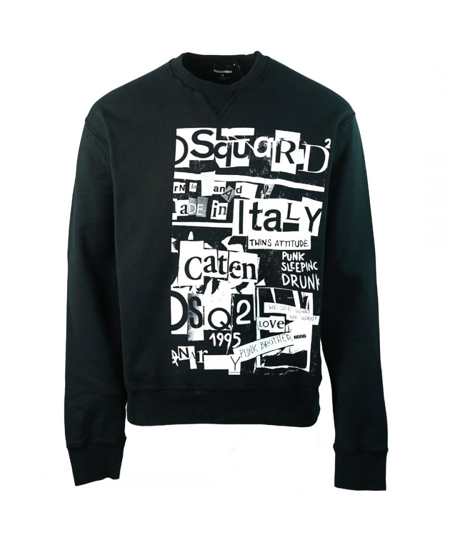 Image for Dsquared2 Punk Brothers Print Black Sweater