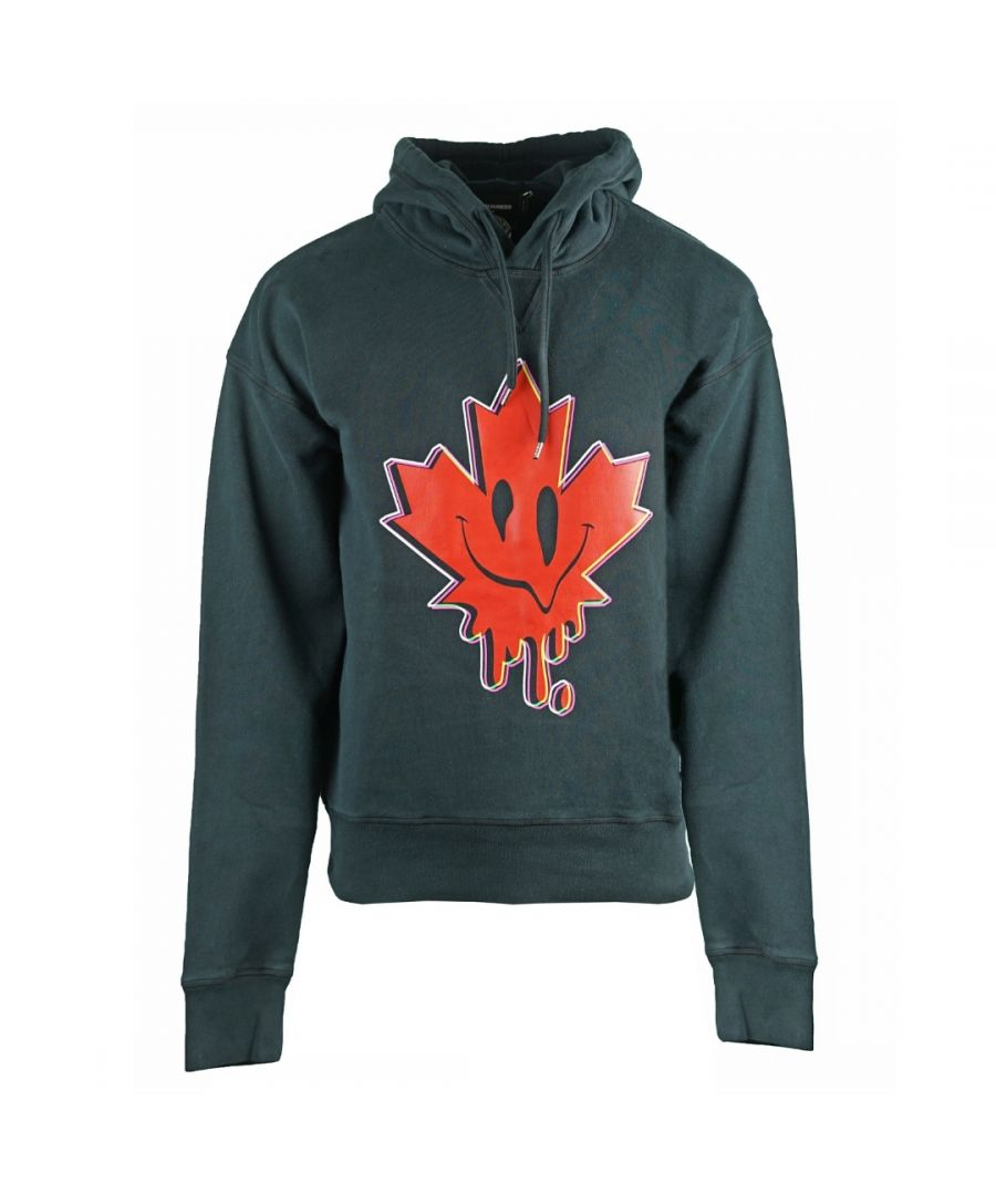 Image for Dsquared2 Ball Fit Acid Maple Leaf Logo Black Hoodie