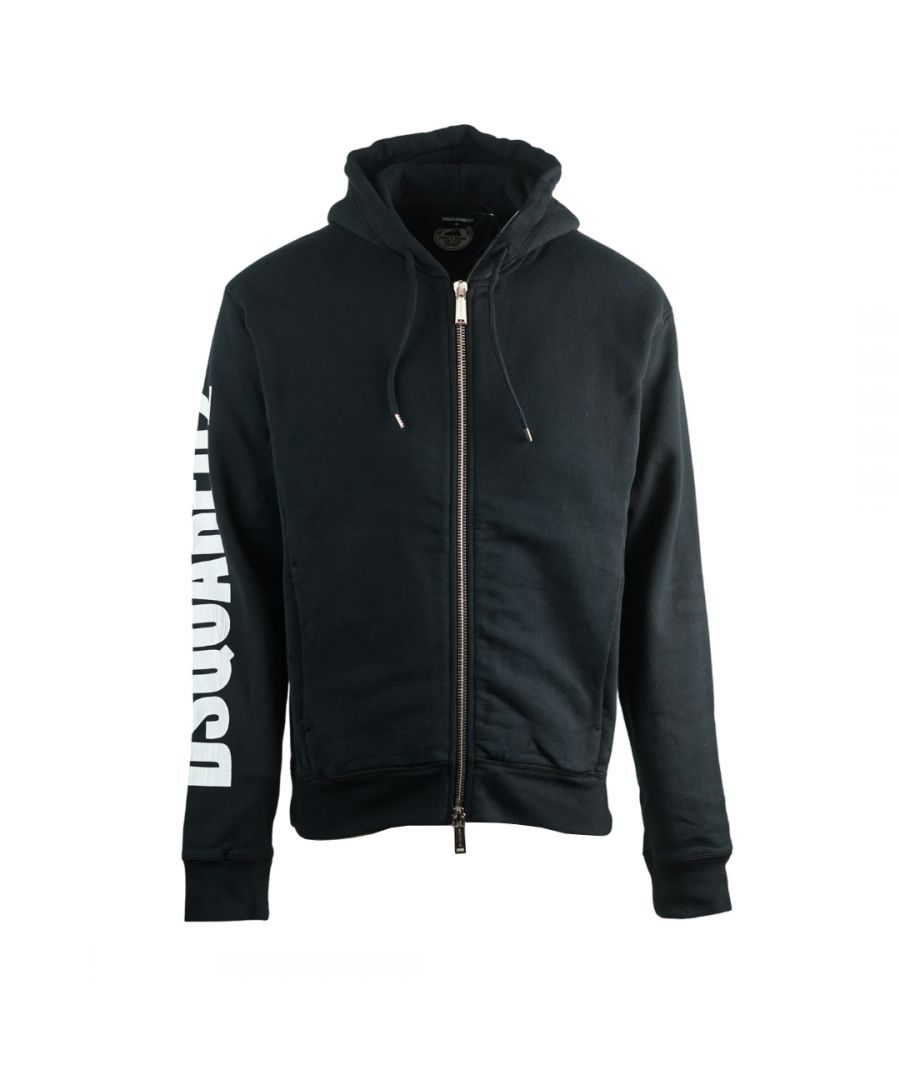 Image for Dsquared2 New Dan Fit Arm Logo Black Hoodie