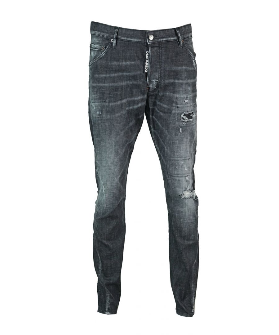 Image for Dsquared2 Classic Kenny Twist Jean Distressed Black Jeans