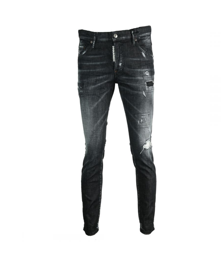 Image for Dsquared2 Skater Jean Distressed Black Jeans