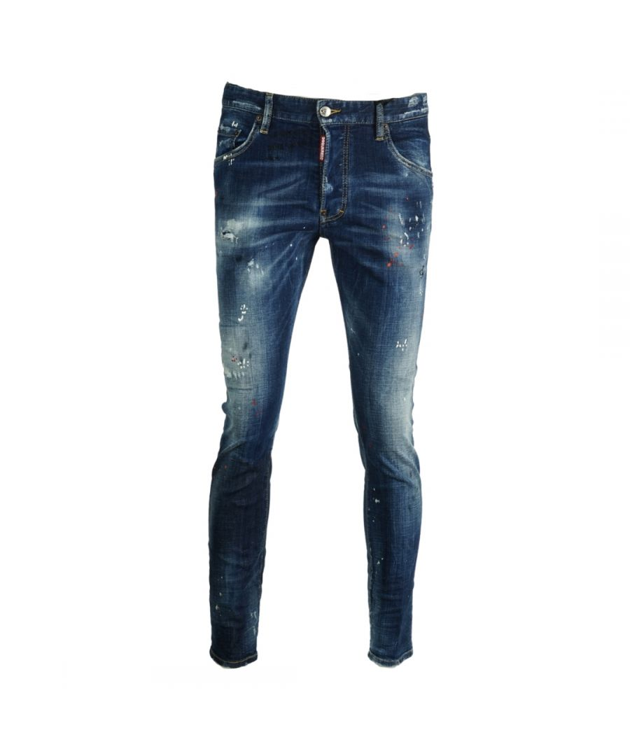 Image for Dsquared2 Skater Jean Paint Splash Distressed Jeans
