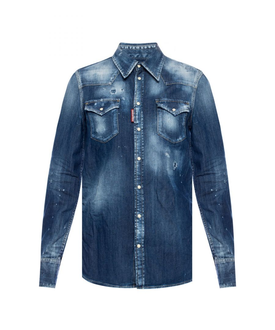 Image for Dsquared2 Womens Western Distressed Blue Denim Shirt
