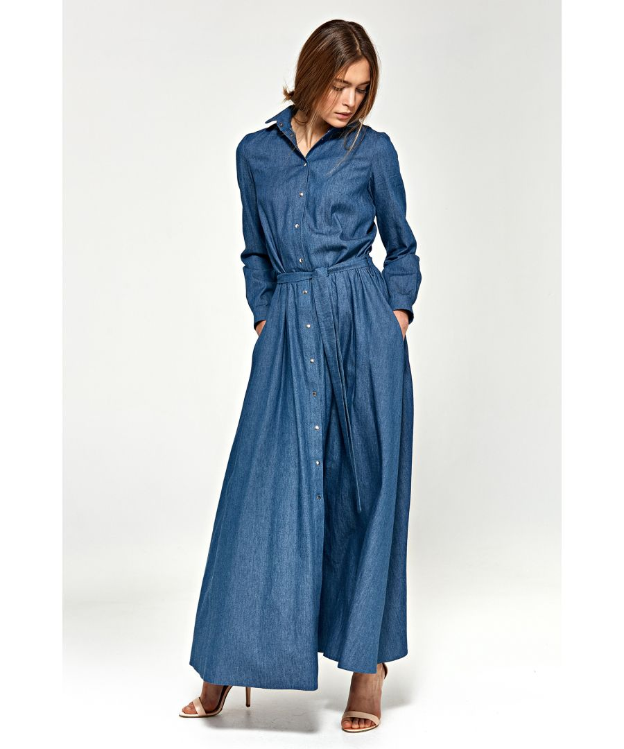 Image for Maxi dress with long sleeves - jeans