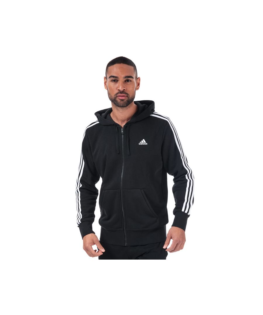 Image for Men's adidas Essentials 3-Stripes Zip Hoody in Black