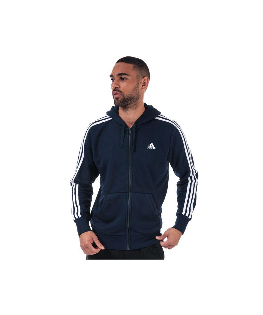 Image for Men's adidas Essentials 3-Stripes Zip Hoody in Navy