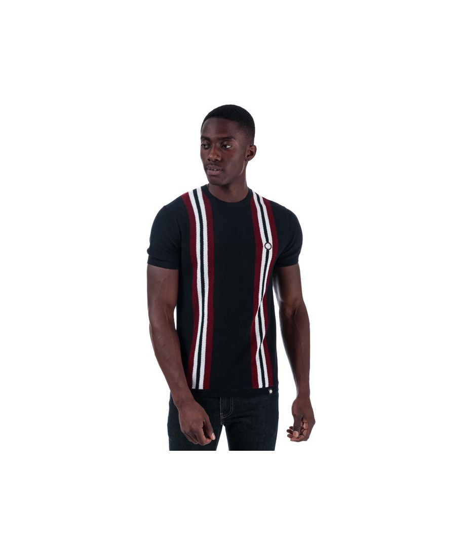 Image for Men's Pretty Green Callingdon Knit T-Shirt in Navy