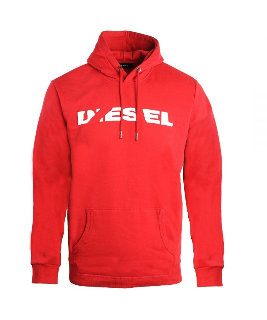 Image for Diesel S-Agnes-Bro Ripped Brand Logo Red Hoodie