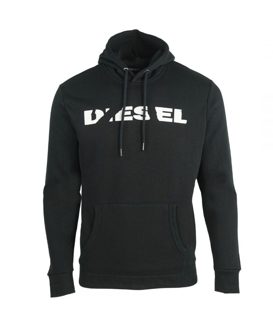 Image for Diesel S-Agnes-Bro Ripped Brand Logo Black Hoodie