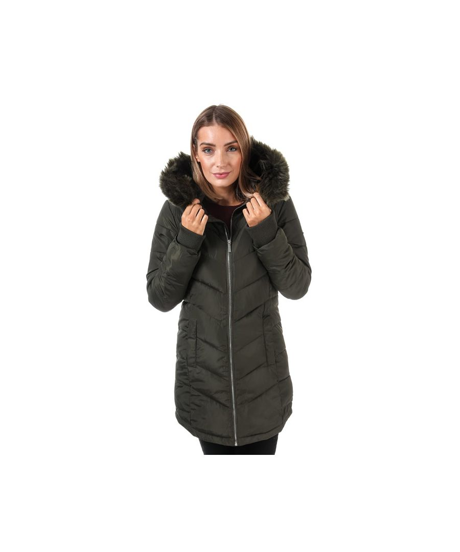 Image for Women's Elle Sabine Hooded Coat With Faux Fur Trim in Khaki