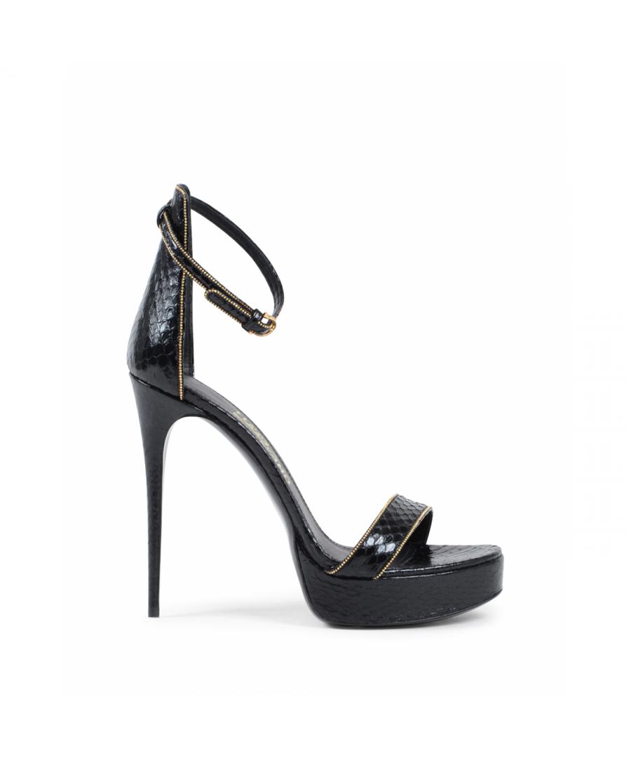 Image for Salvatore Ferragamo Womens Ankle Strap Sandal Black EDVIGE
