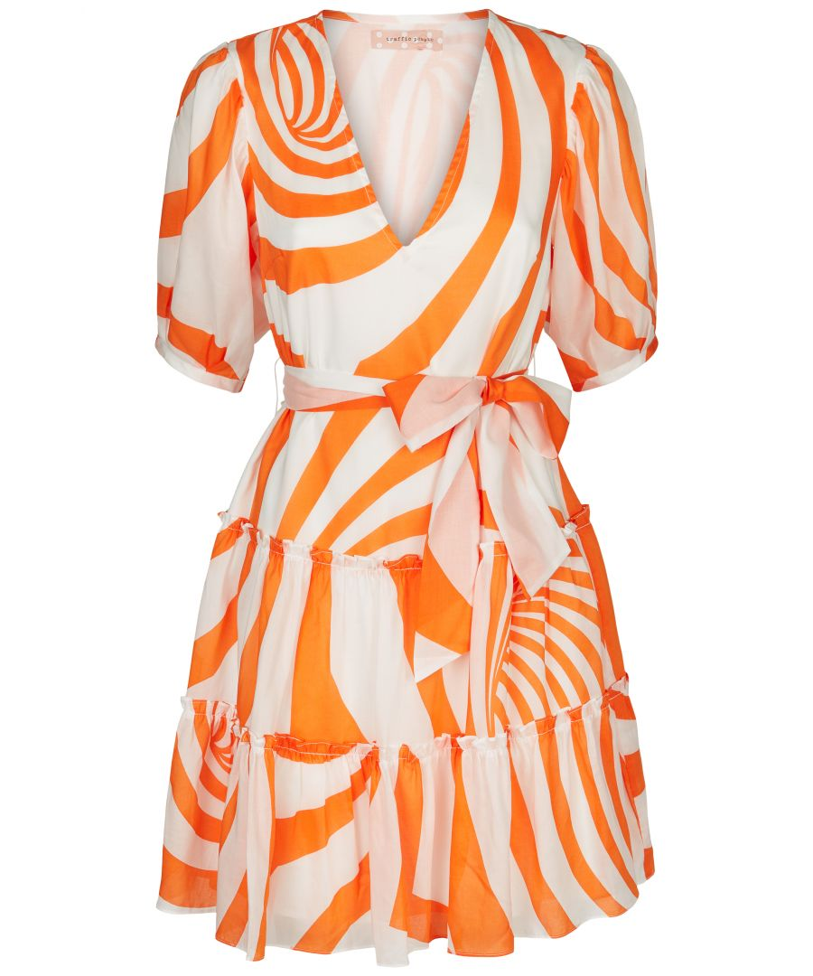 Image for Felicitous Swirl Print Mini Dress in White and Orange