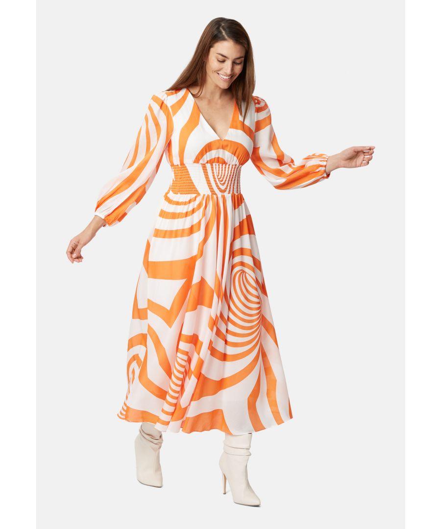 Image for Aurora Swirl Midi Dress in Orange and White