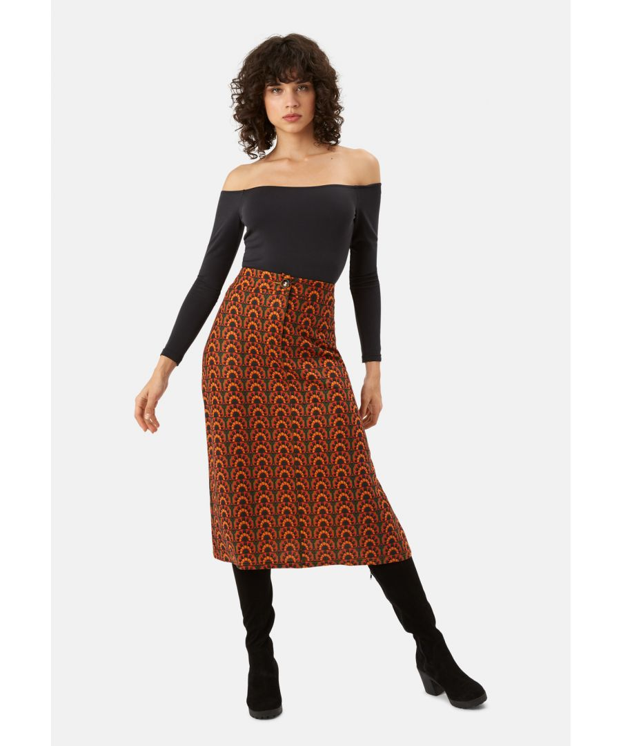 Image for Ali A-Line Midi Skirt in Orange and Green