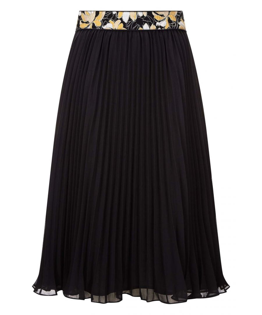 Image for Felicity Floral Pleated Skirt in Black and Yellow